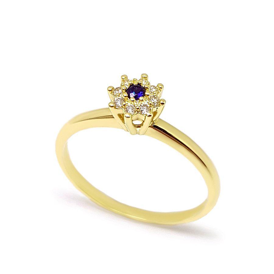 Anel Chuveiro Ouro 18k com Diamantes e Safira
