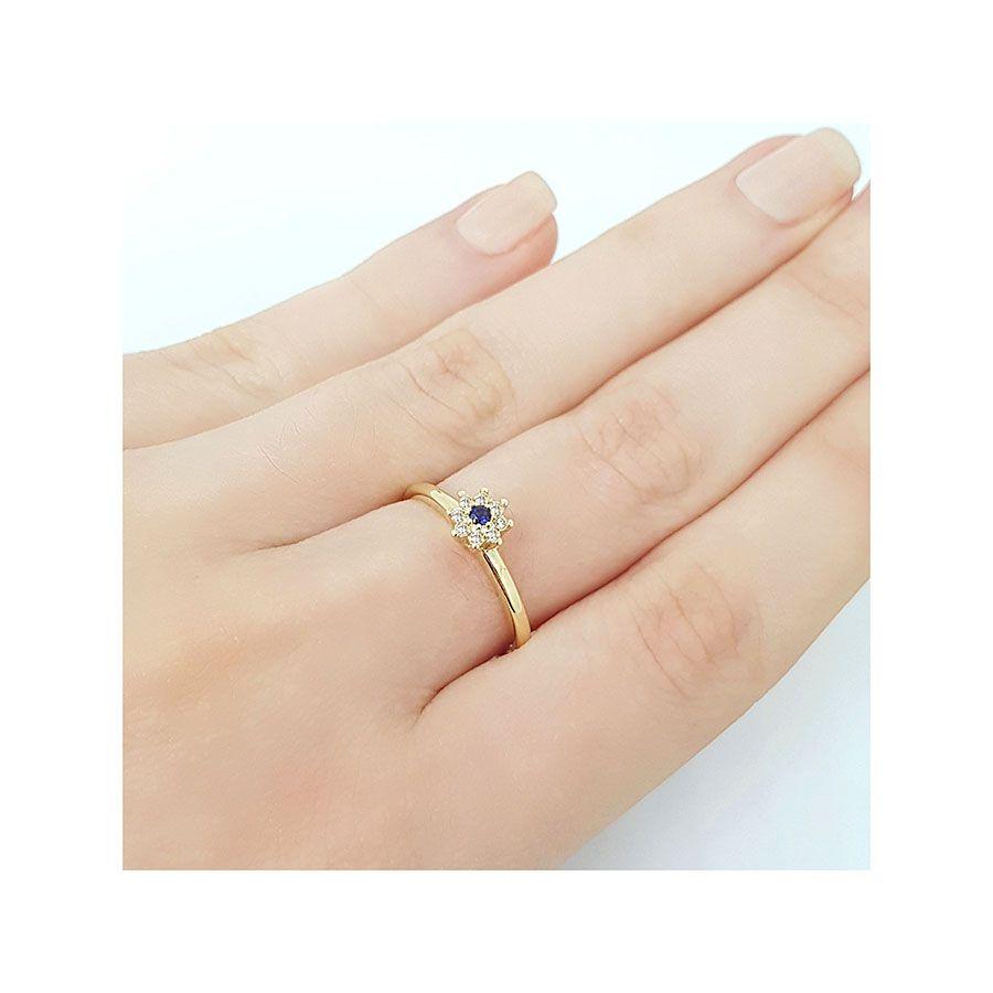 Anel Chuveiro Ouro 18k com Diamantes e Safira  - YVES