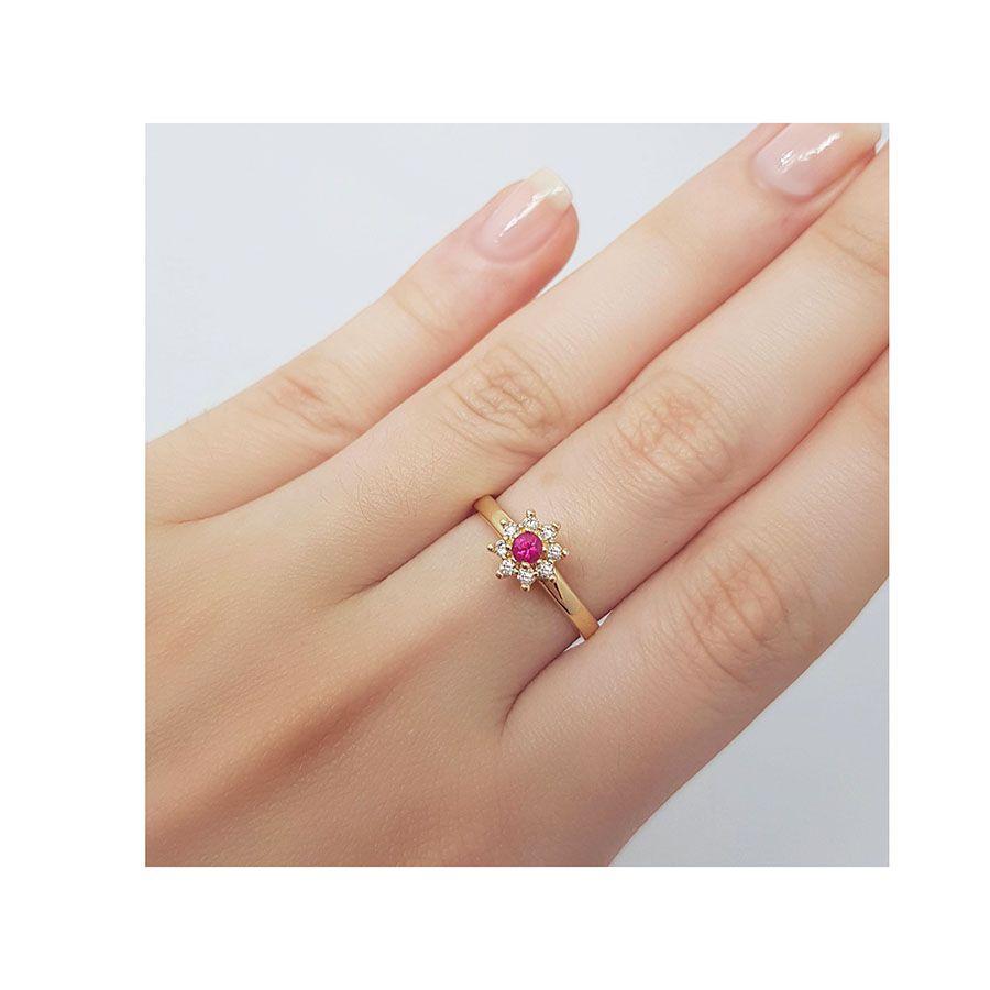 Anel Chuveiro Ouro 18k com Diamantes e Rubi de 12 pontos  - YVES