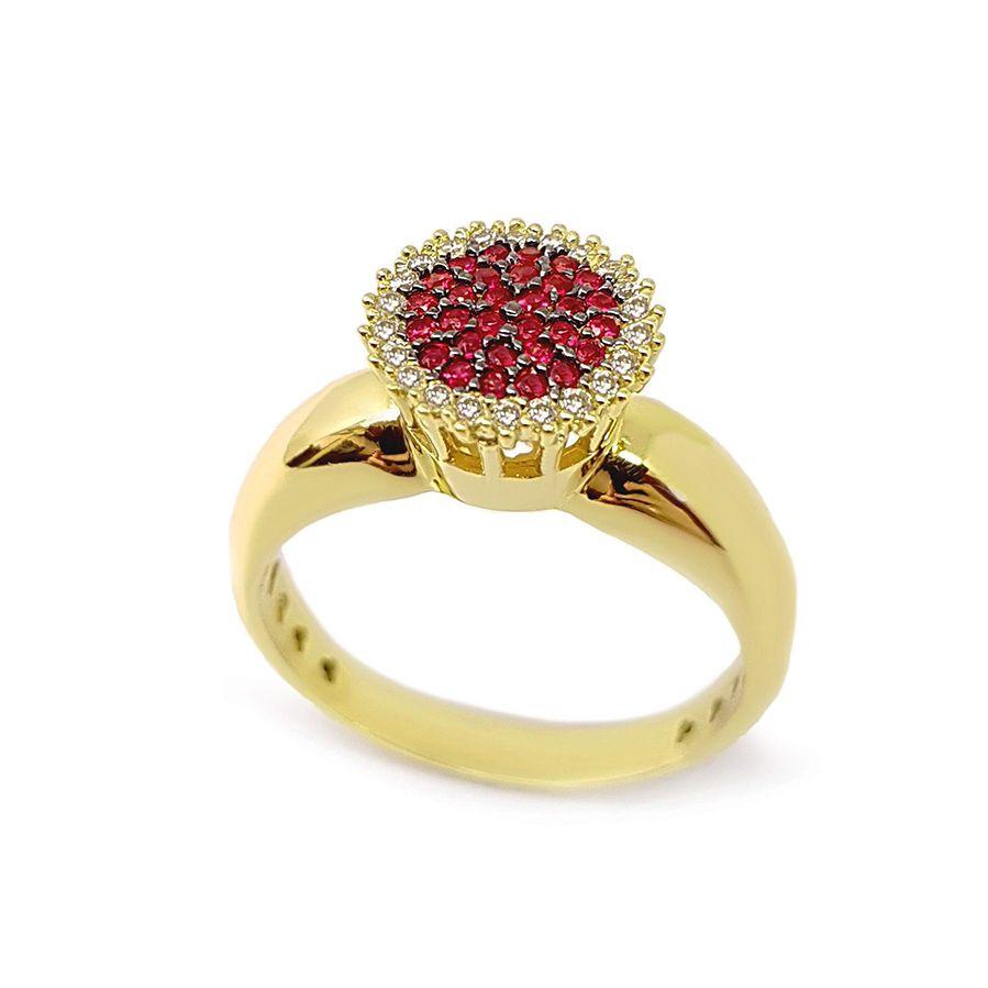 Anel Chuveiro Ouro 18k com Diamantes e 29 Rubis