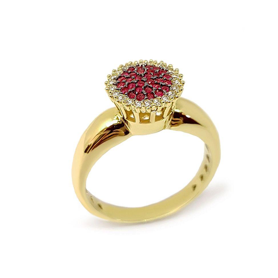 Anel Chuveiro Ouro 18k com Diamantes e 29 Rubis  - YVES