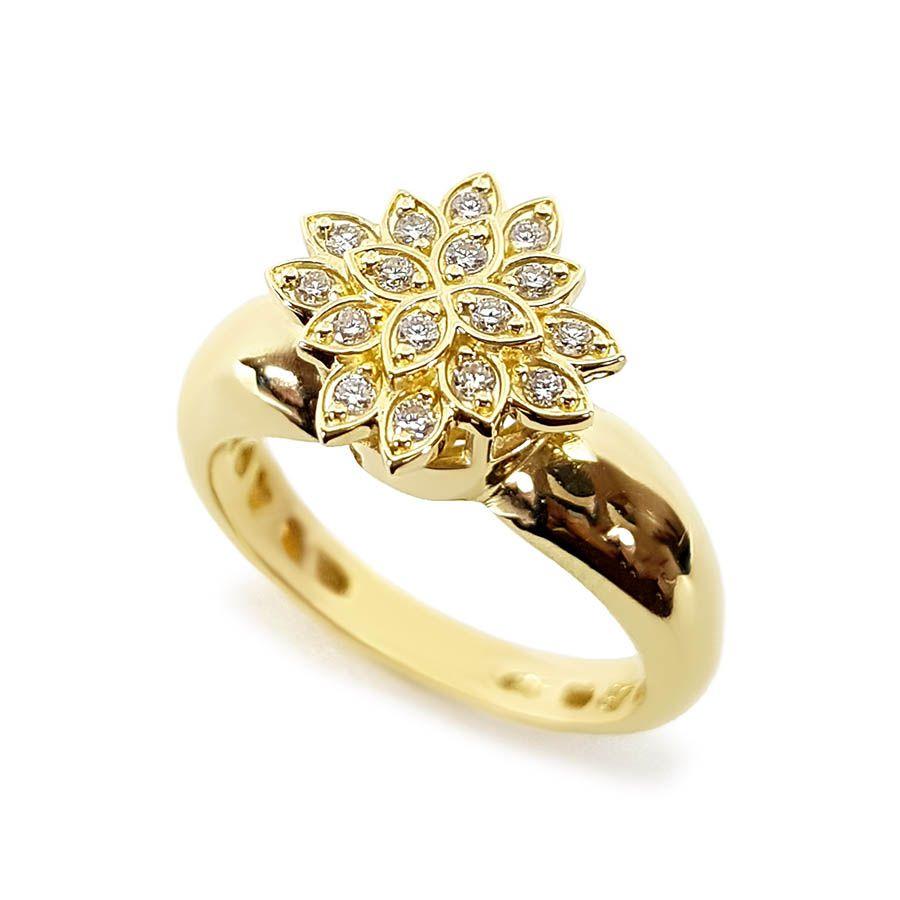 Anel Chuveiro Ouro 18k Flor com Diamantes
