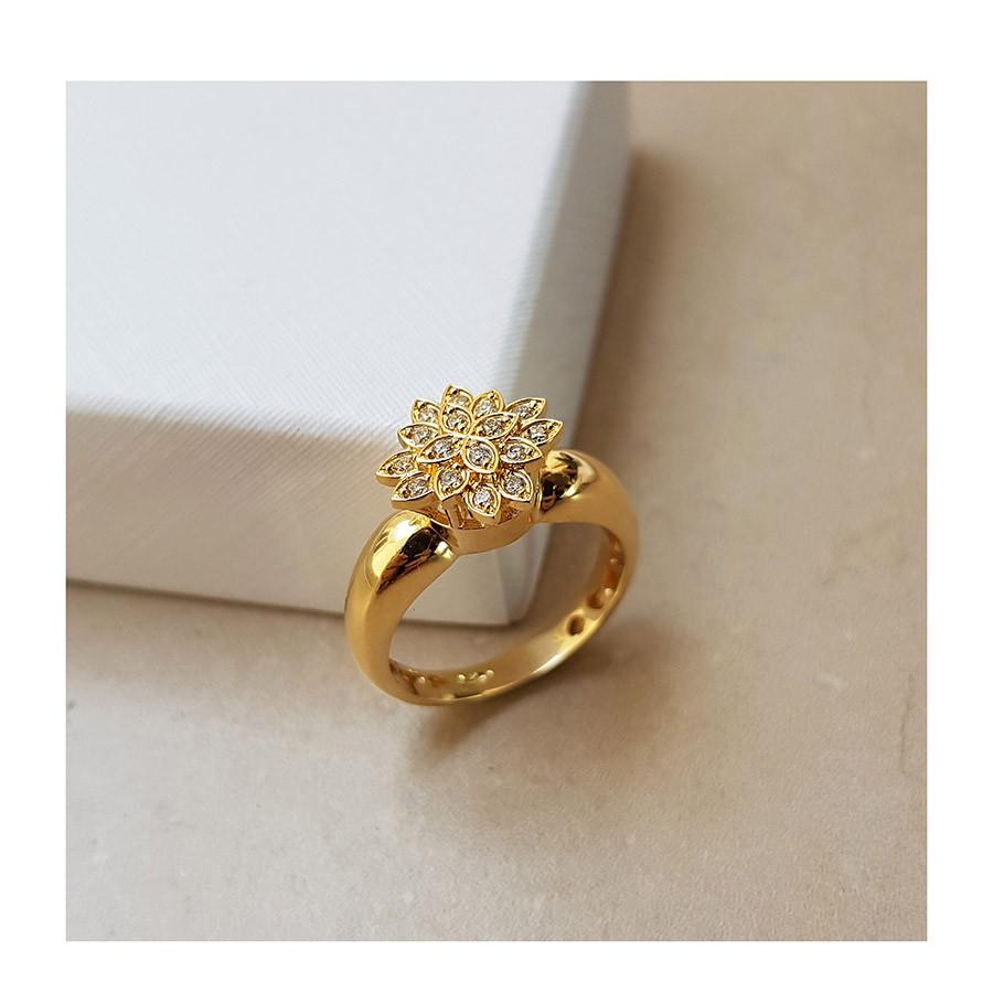 Anel Chuveiro Ouro 18k Flor com Diamantes   - YVES