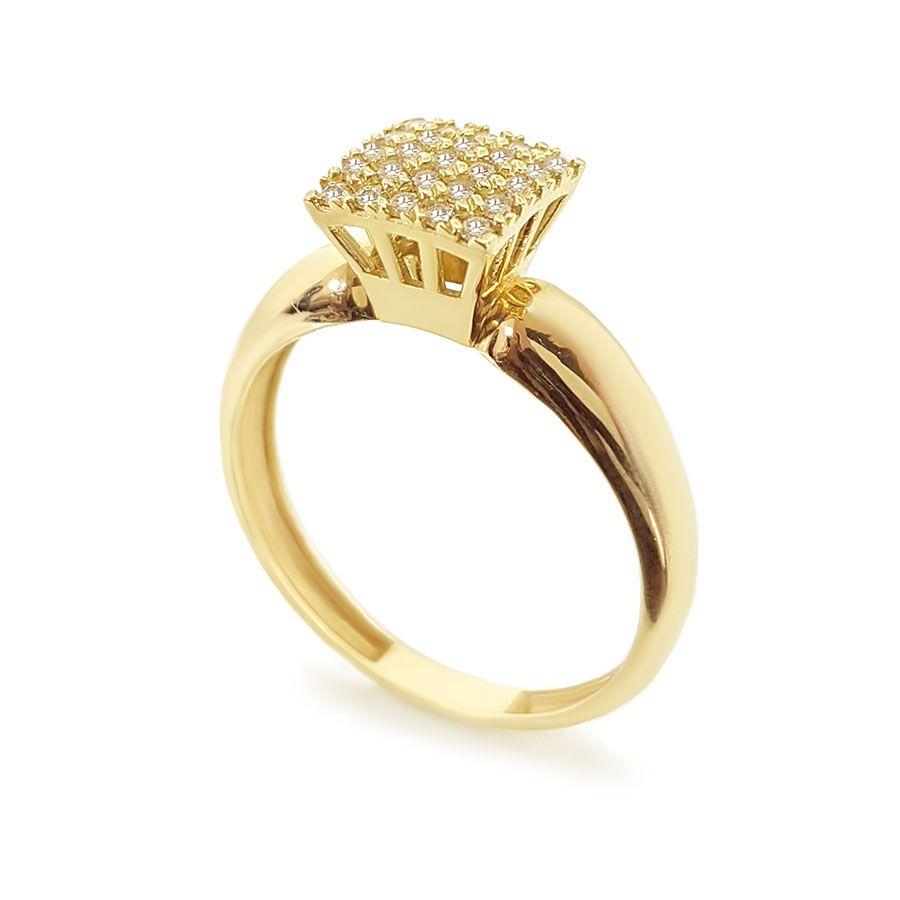 Anel Chuveiro Ouro 18k Quadrado com Diamantes  - YVES