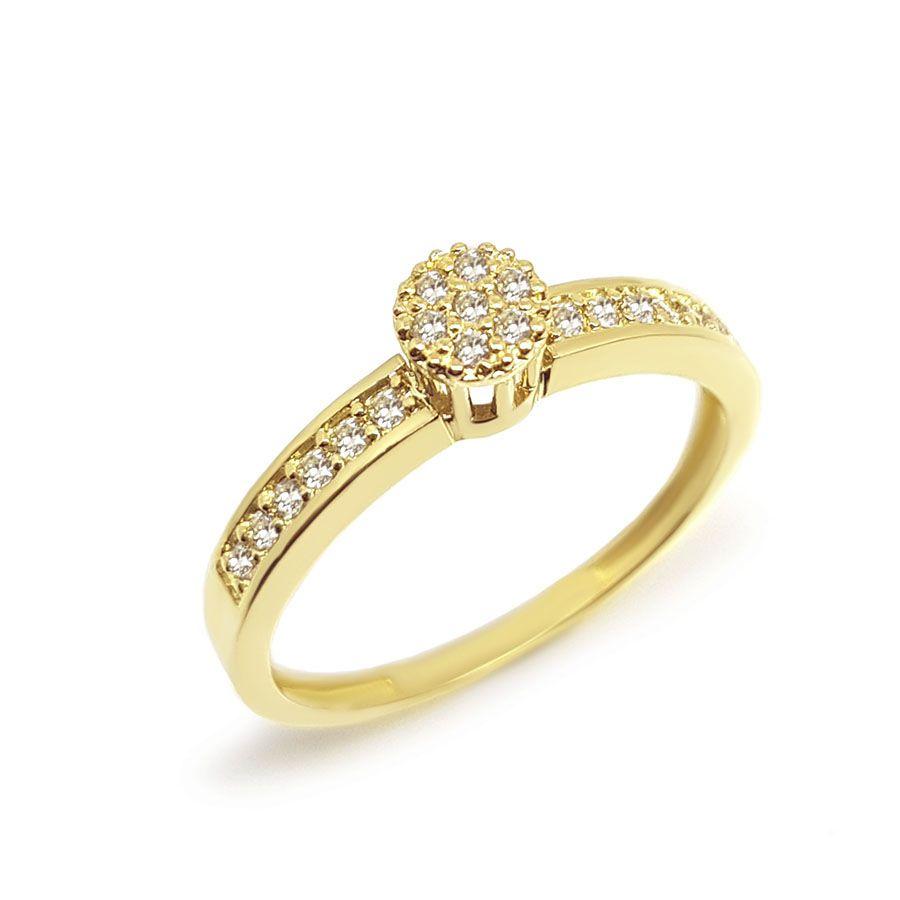 Anel Chuveiro Ouro 18k Redondo com Diamantes
