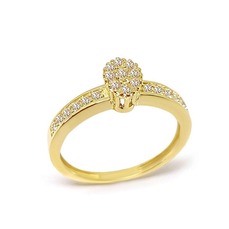 Anel Chuveiro Oval Ouro 18k com Diamantes