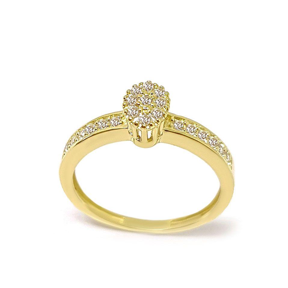 Anel Chuveiro Oval Ouro 18k com Diamantes   - YVES