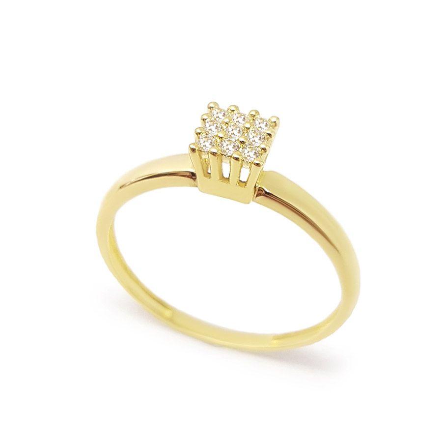 Anel Ouro 18k Chuveiro Quadrado com 9 Diamantes   - YVES