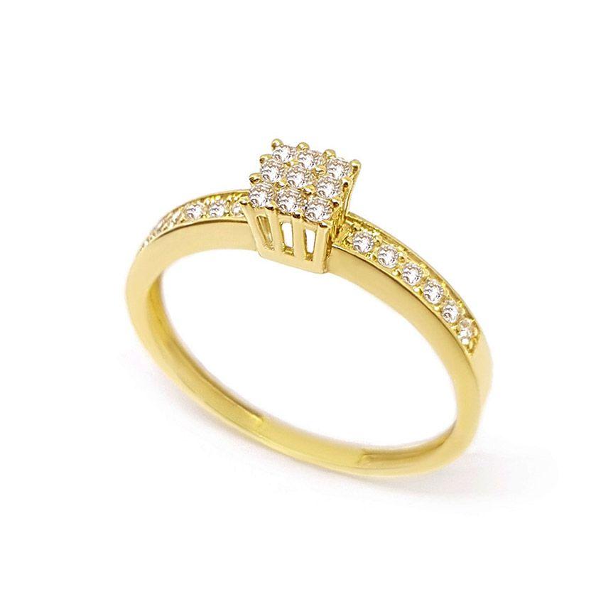Anel Chuveiro Quadrado Ouro 18k com Diamantes