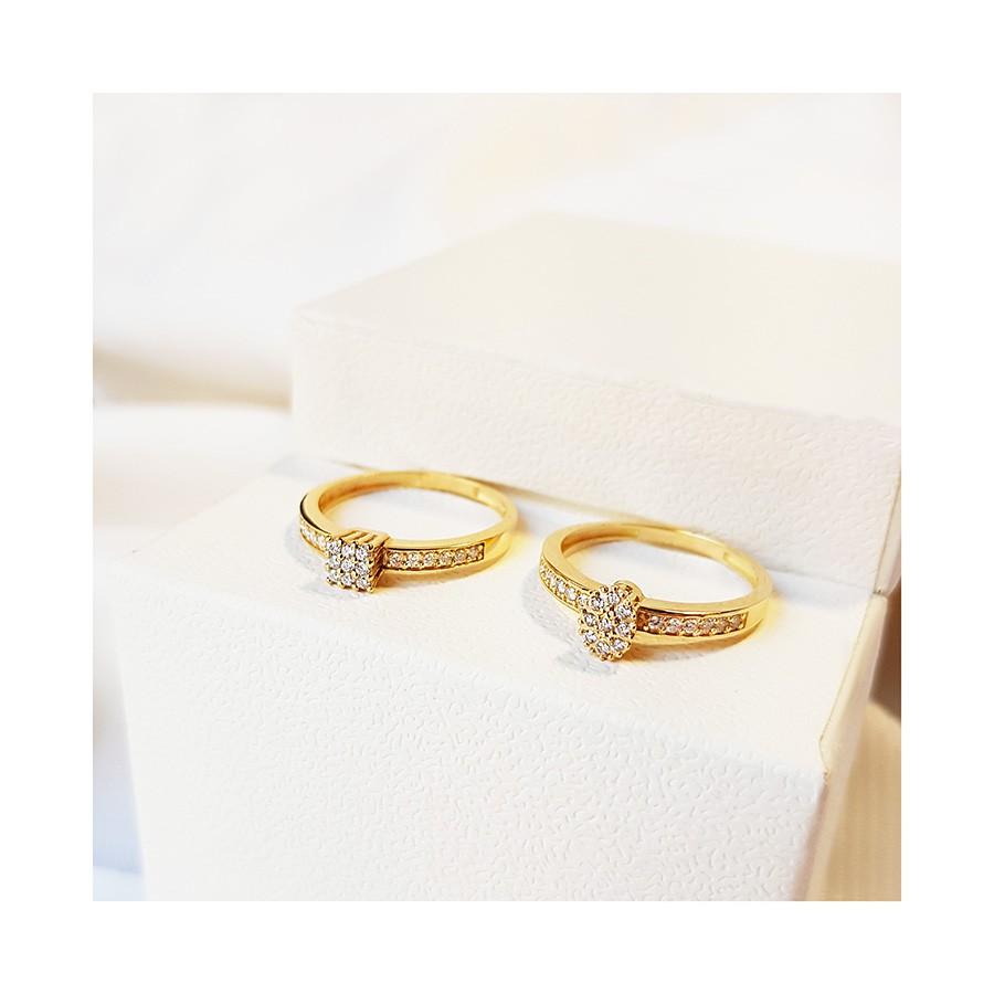 Anel Chuveiro Quadrado Ouro 18k com Diamantes   - YVES