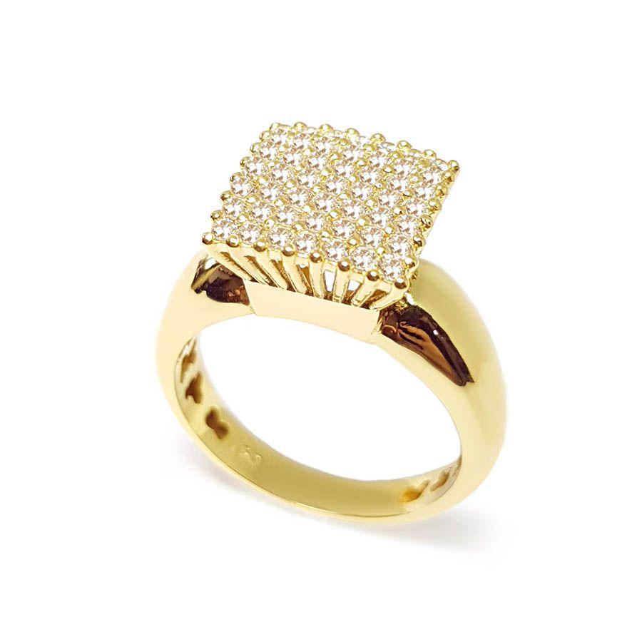 Anel Chuveiro Quadrado Ouro 18k com 49 Diamantes
