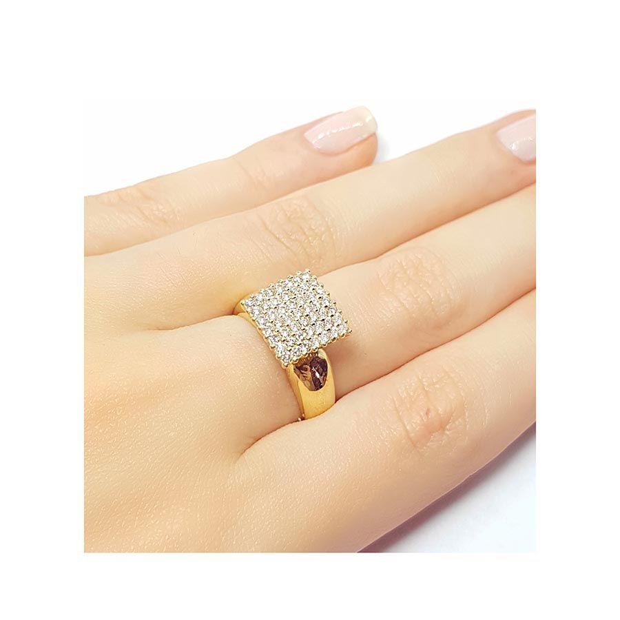 Anel Chuveiro Quadrado Ouro 18k com 49 Diamantes   - YVES