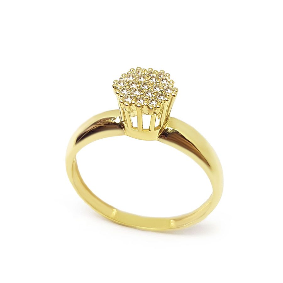 Anel Chuveiro Sextavado Ouro 18k com 19 Diamantes