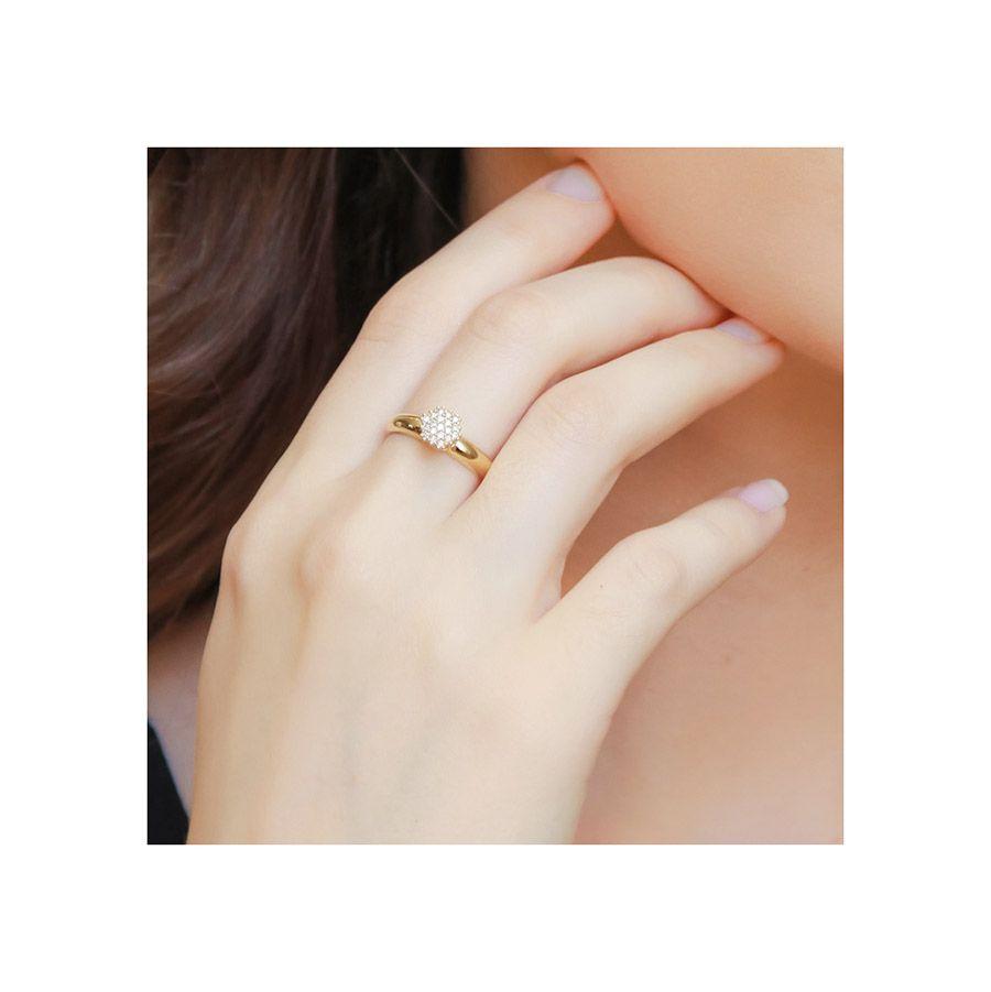 Anel Chuveiro Sextavado Ouro 18k com 19 Diamantes   - YVES