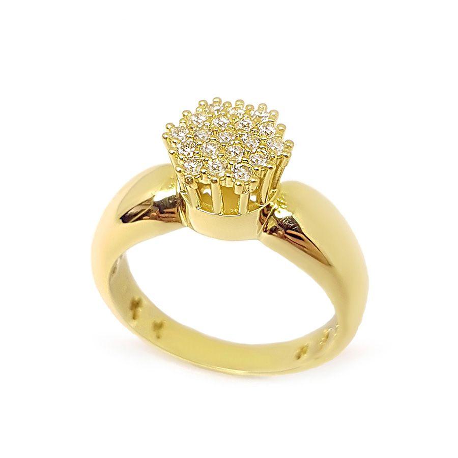 Anel Chuveiro Sextavado Ouro 18k com Diamantes