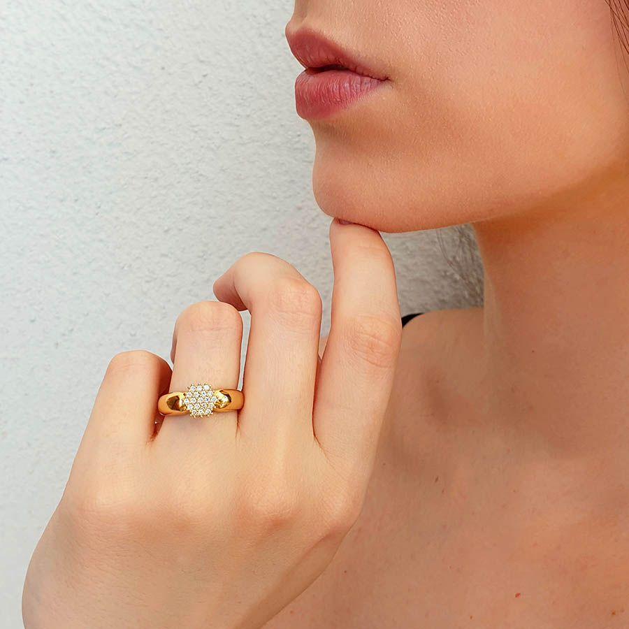 Anel Chuveiro Sextavado Ouro 18k com Diamantes   - YVES