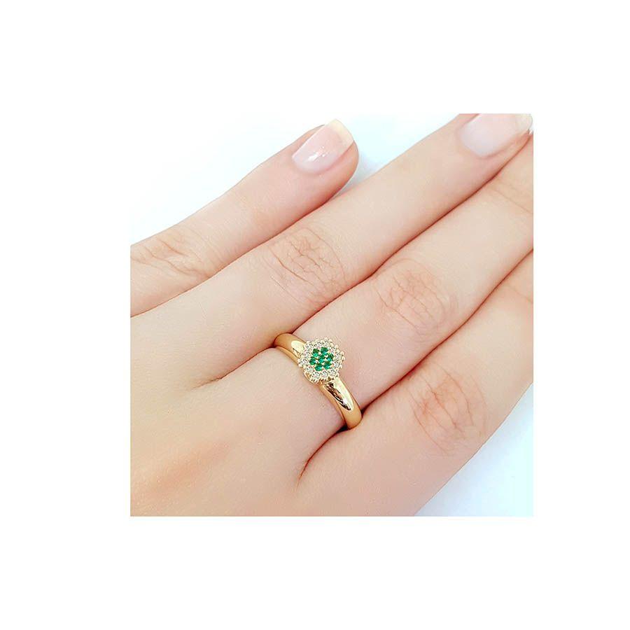 Anel Chuveiro Sextavado Ouro 18k com Diamantes e Esmeralda  - YVES
