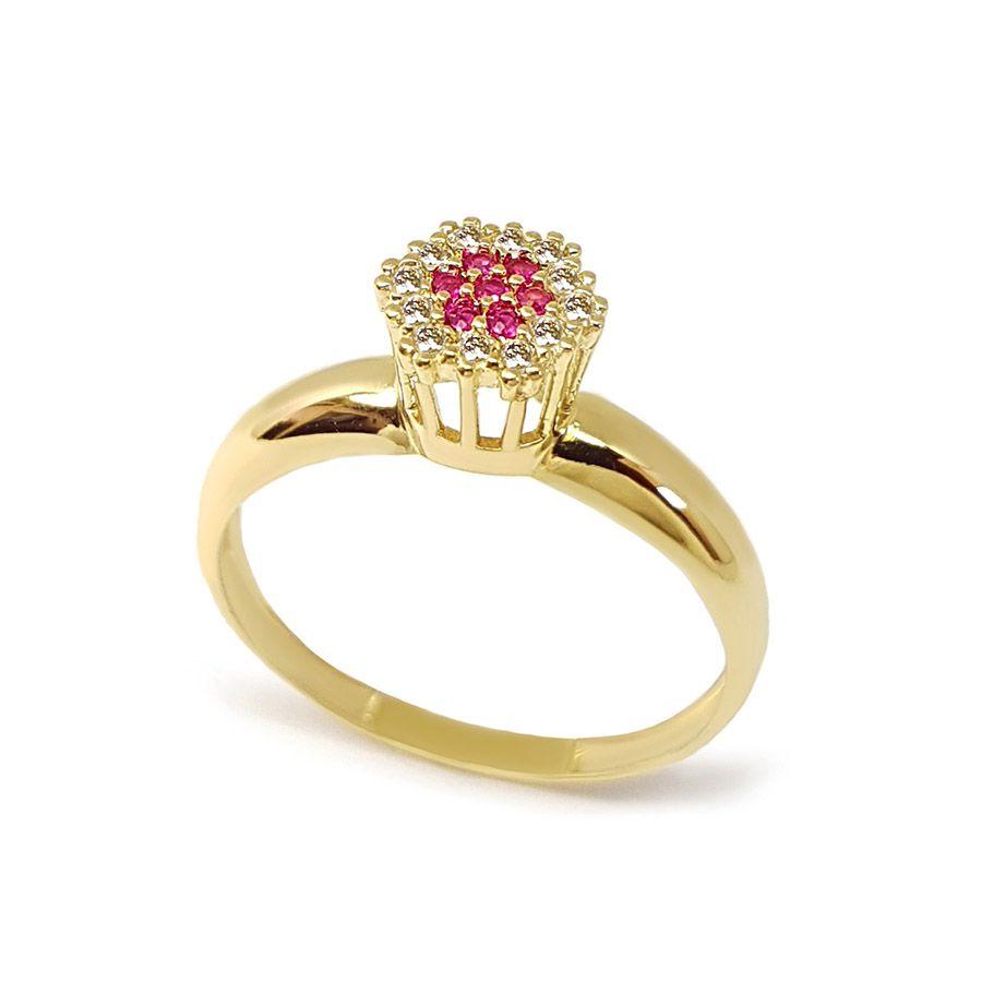 Anel Chuveiro Sextavado Ouro 18k com Diamantes e Rubi