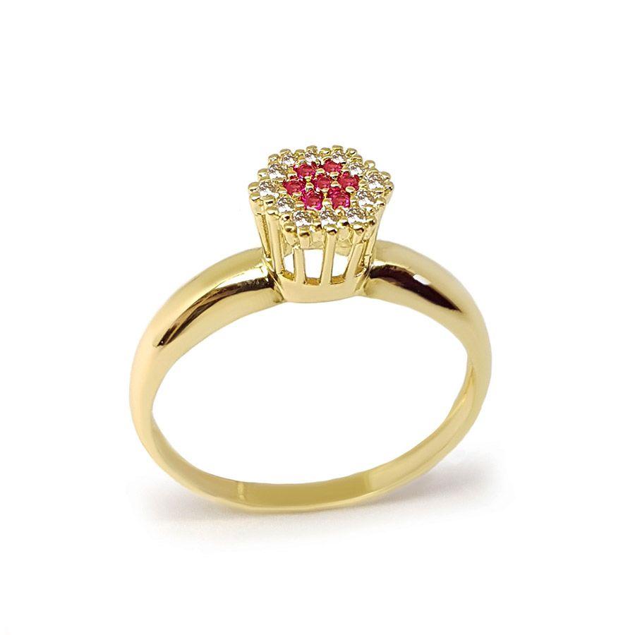 Anel Chuveiro Sextavado Ouro 18k com Diamantes e Rubi  - YVES