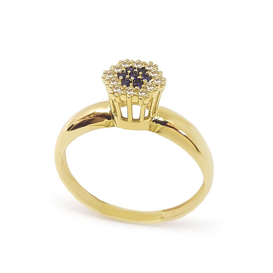Anel Chuveiro Sextavado Ouro 18k com Diamantes e Safira