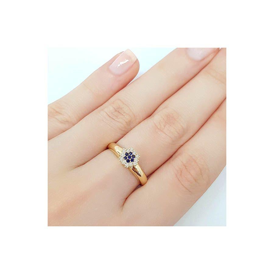 Anel Chuveiro Sextavado Ouro 18k com Diamantes e Safira  - YVES