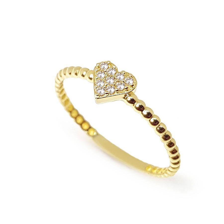 Anel Coração Ouro 18k com 10 Diamantes
