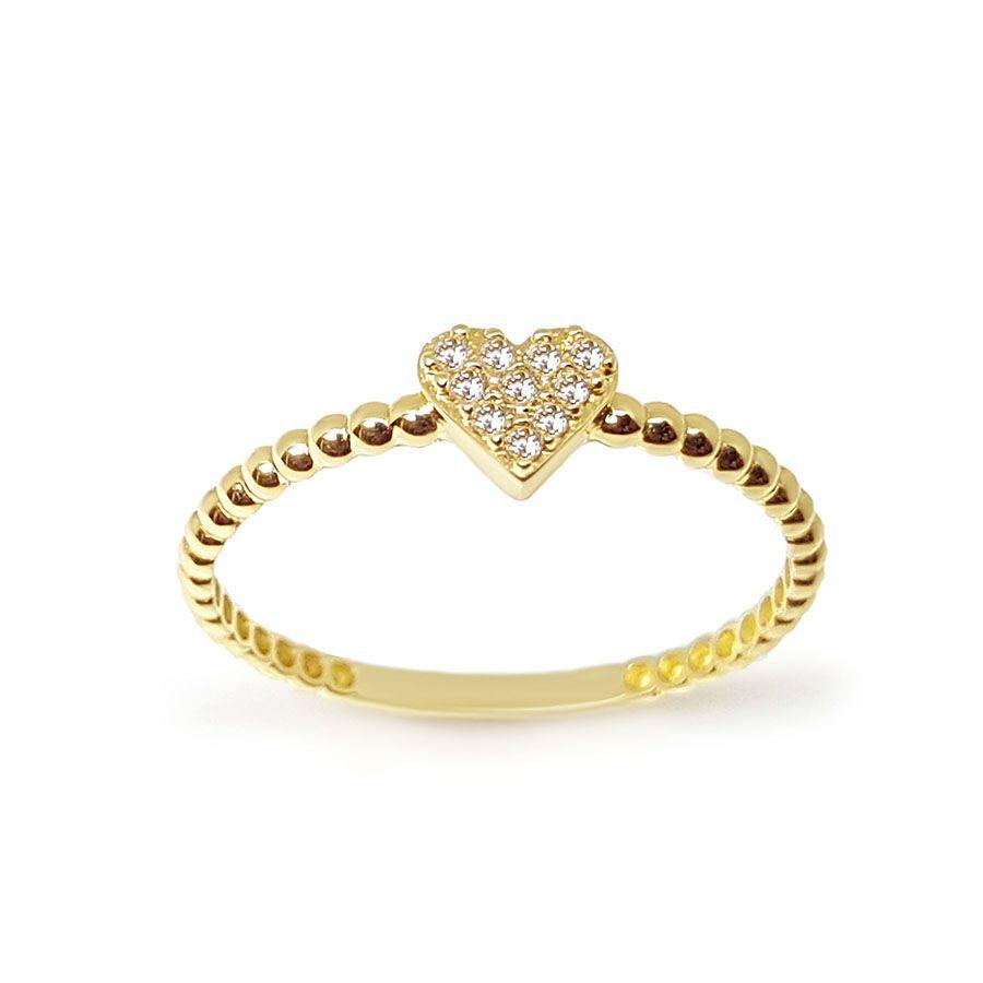 Anel Coração Ouro 18k com 10 Diamantes   - YVES