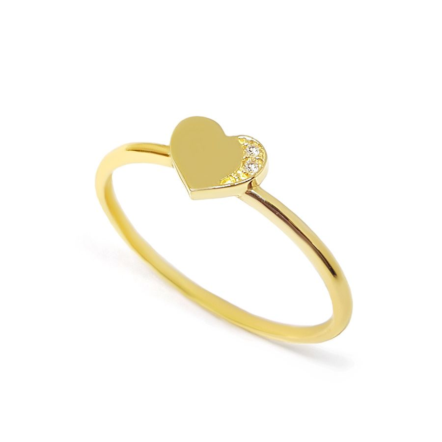 Anel Coração Ouro 18k com Diamantes