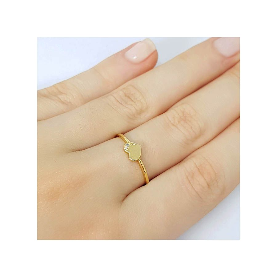 Anel Coração Ouro 18k com Diamantes   - YVES