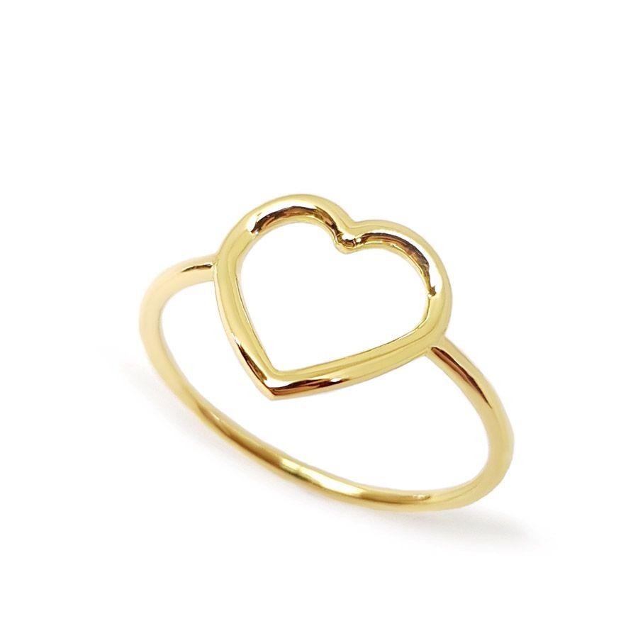 Anel Coração Vazado Ouro 18k