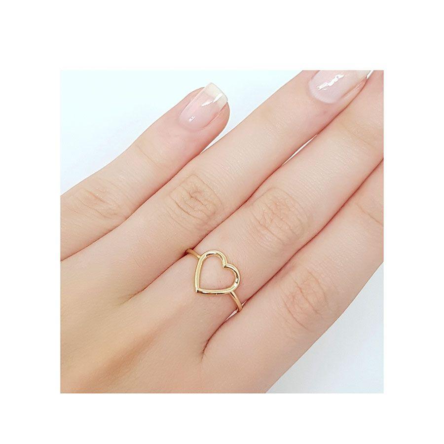 Anel Coração Vazado Ouro 18k  - YVES