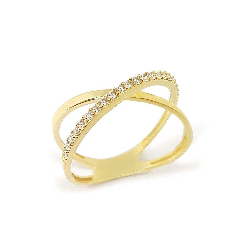 Anel Cruzado Ouro 18k com Diamantes