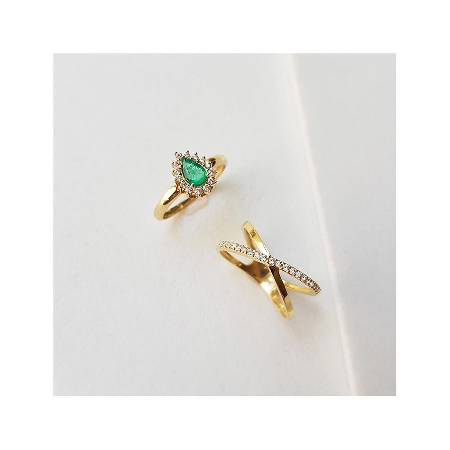 Anel Cruzado Ouro 18k com Diamantes   - YVES