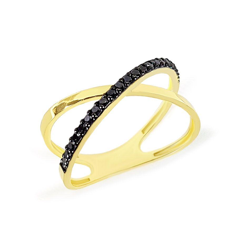 Anel Cruzado Ouro 18k com Diamantes Negro  - YVES