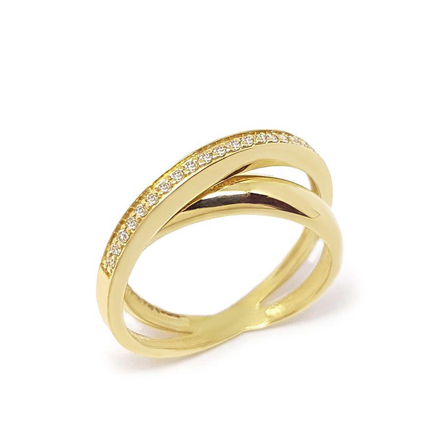 Anel Entrelaçado Ouro 18k com Diamantes
