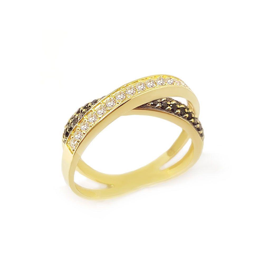 Anel Entrelaçado Ouro 18k com Diamantes e Diamantes Negro
