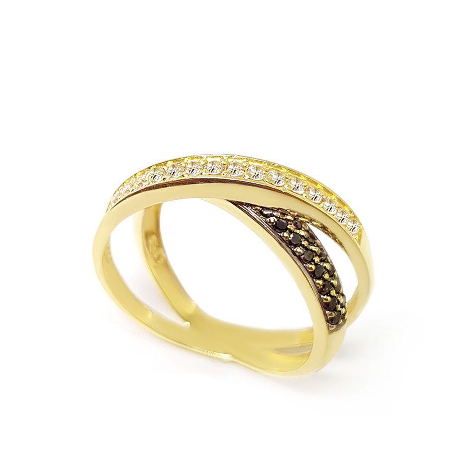 Anel Entrelaçado Ouro 18k com Diamantes e Diamantes Negro  - YVES
