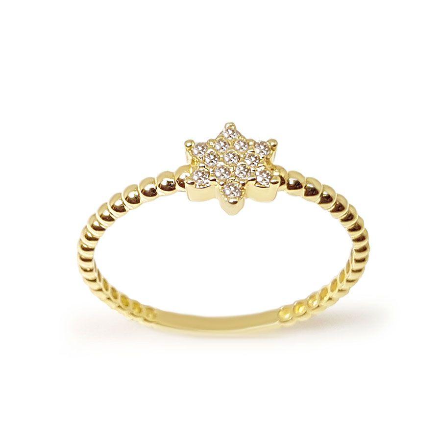 Anel Estrela Ouro 18k com 13 Diamantes   - YVES