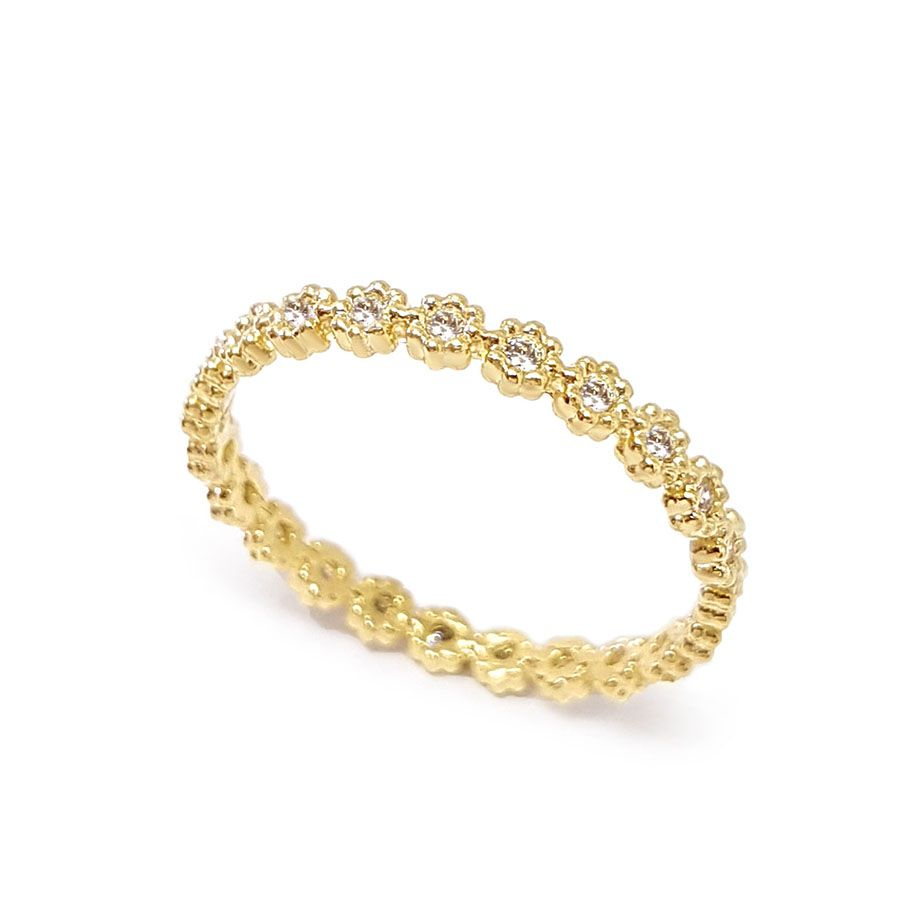 Anel Flor Ouro 18k Inteiro de Diamantes