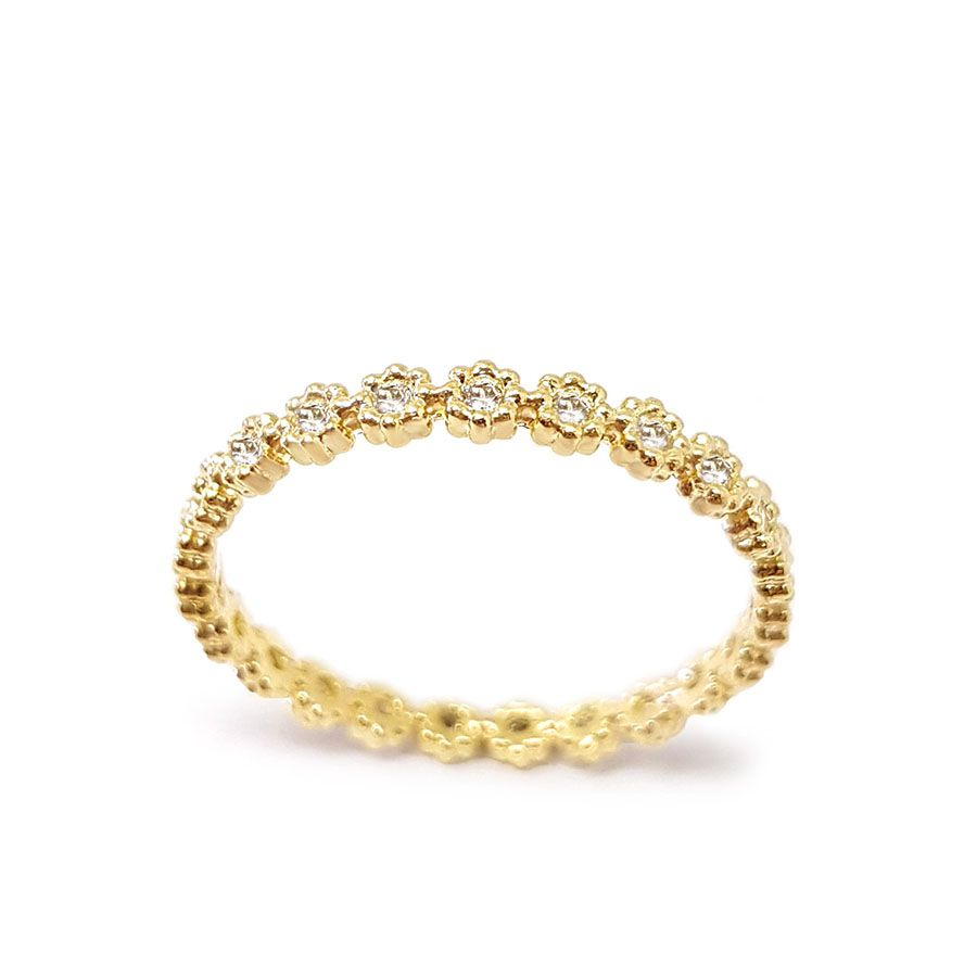 Anel Flor Ouro 18k Inteiro de Diamantes   - YVES