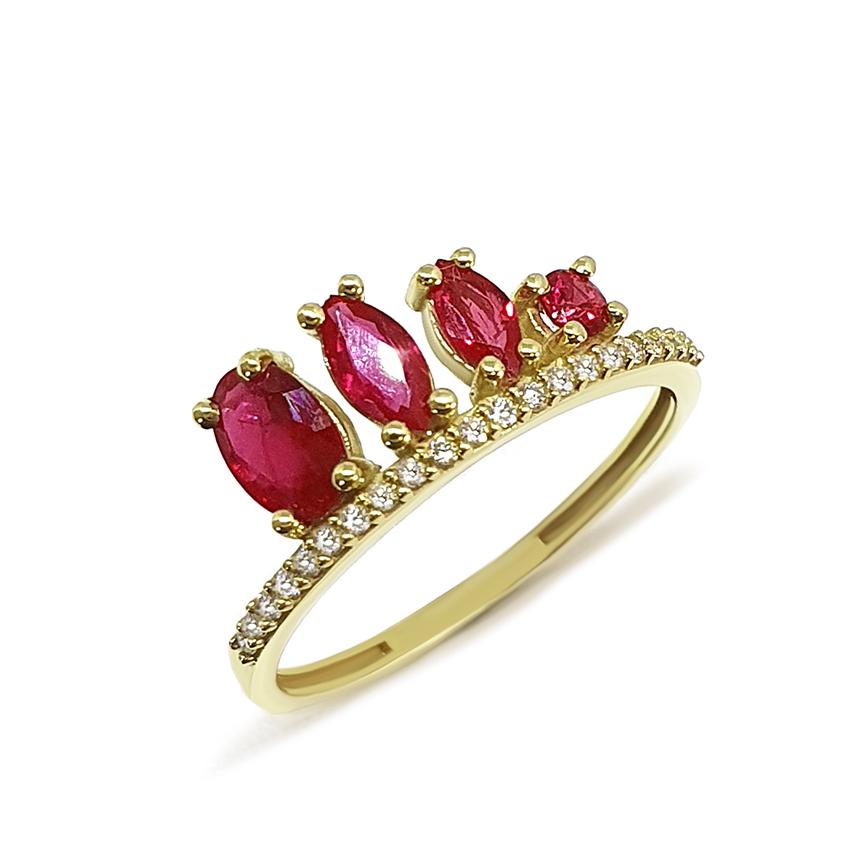Anel Flowing Ouro 18k com Diamantes e Rubis Oval Navete Redondo