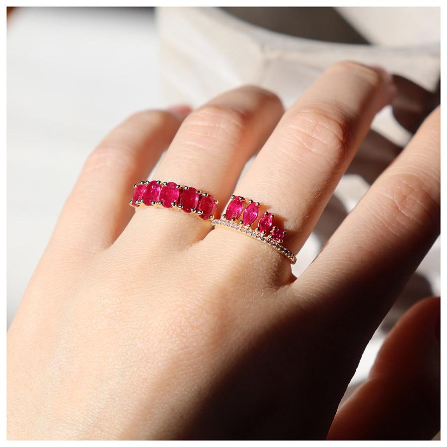 Anel Flowing Ouro 18k com Diamantes e Rubis Oval Navete Redondo  - YVES