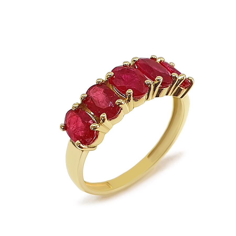 Anel Flowing Ouro 18k com Rubis Oval