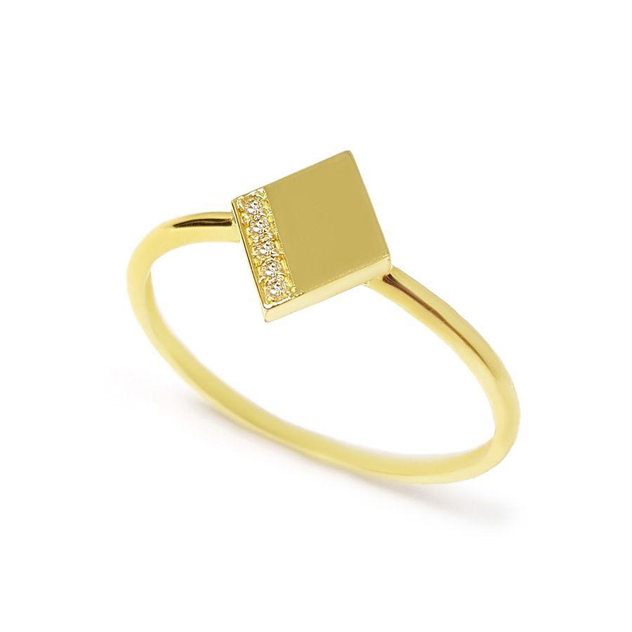Anel Losango Ouro 18k com Diamantes