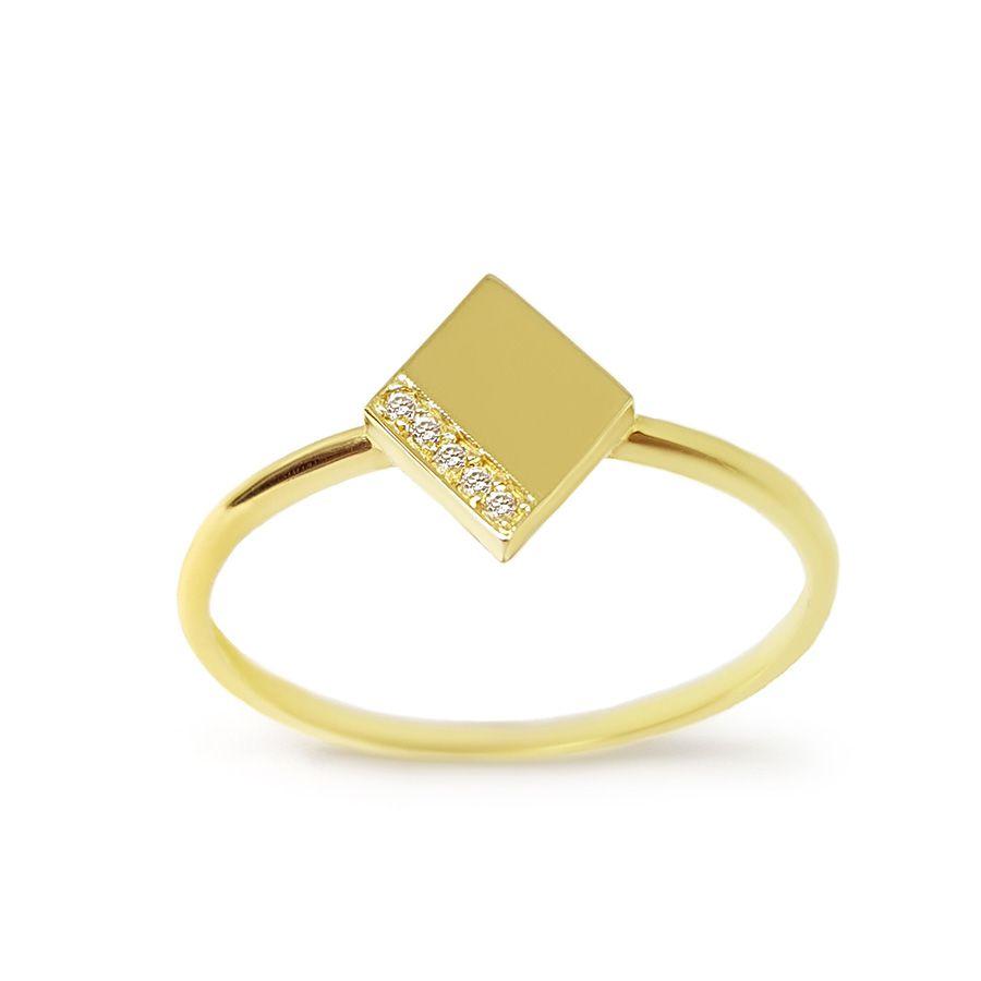 Anel Losango Ouro 18k com Diamantes   - YVES