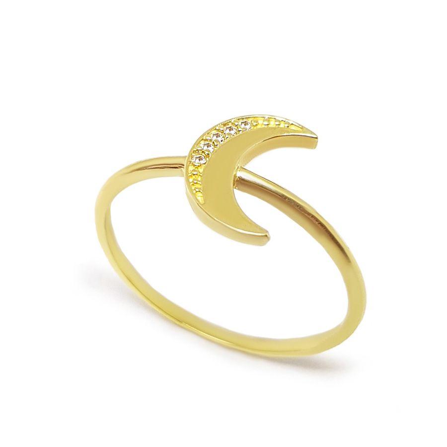 Anel Lua Ouro 18k com Diamantes