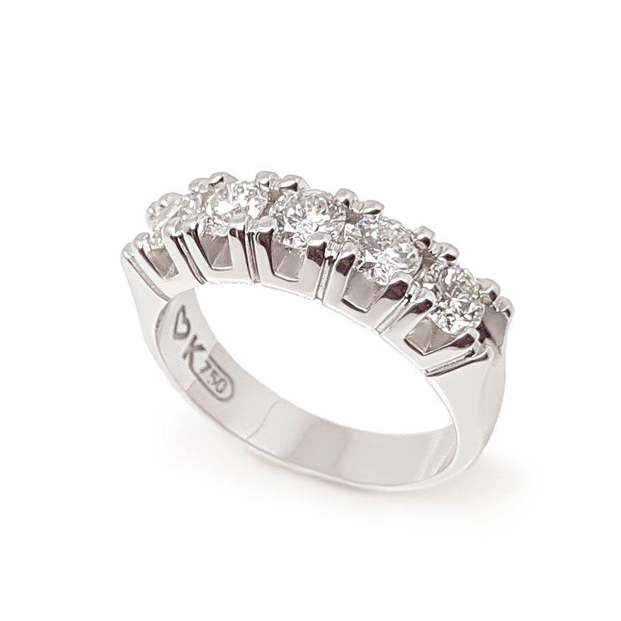 Anel Meia Aliança Ouro 18k com 1,5ct em Diamantes