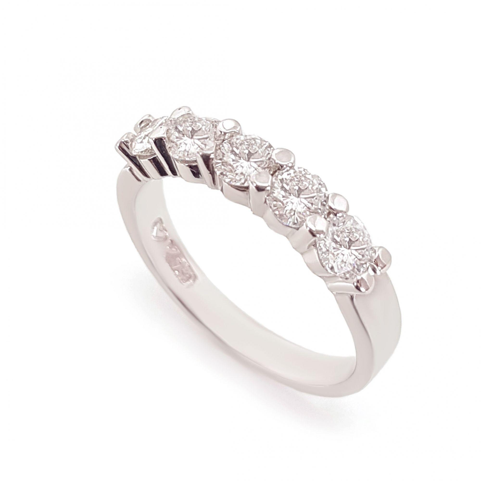 Anel Meia Aliança Ouro 18k com 1,25ct em Diamantes