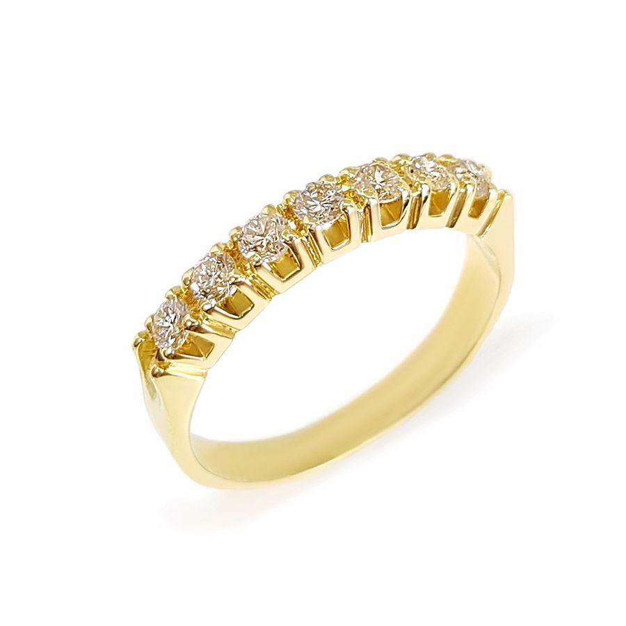 Anel Meia Aliança Ouro 18k com 44 pontos em Diamantes
