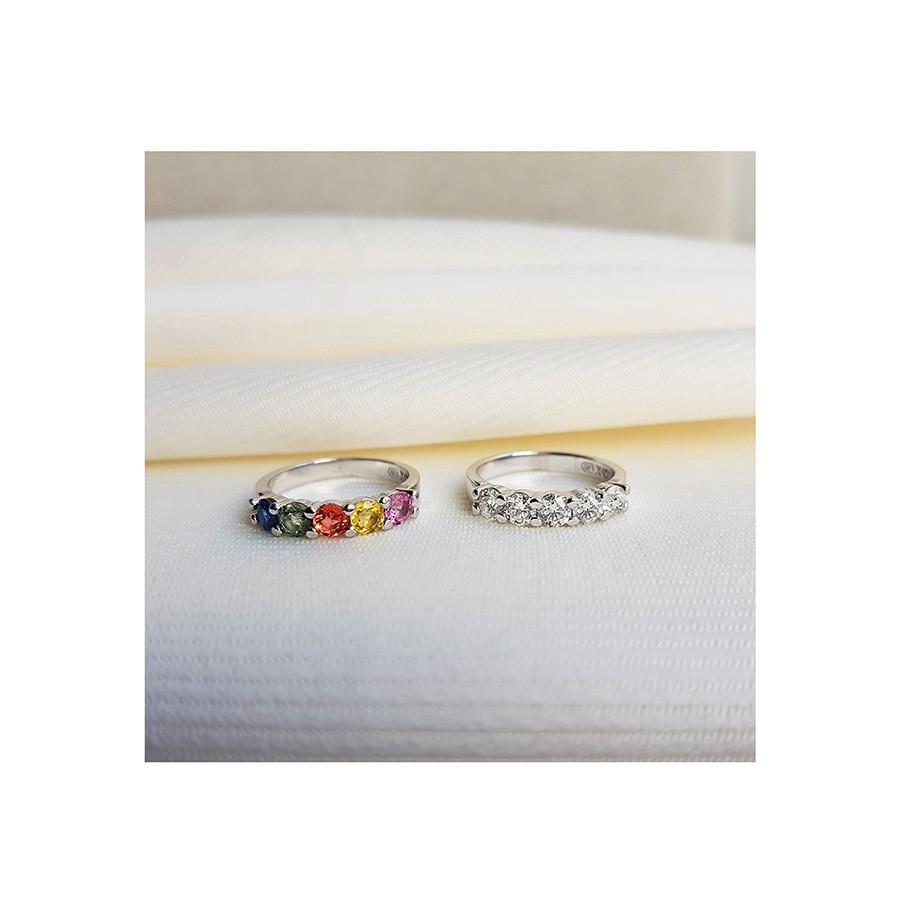 Anel Meia Aliança Ouro 18k com Safiras Coloridas  - YVES